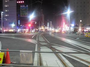富山駅側からの軌道の配置。