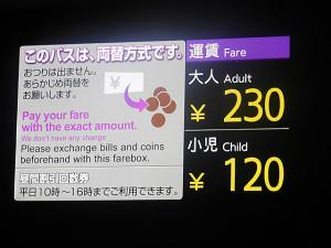 さりげなく小銭のイラストも入っていてわかりやすい運賃表示器