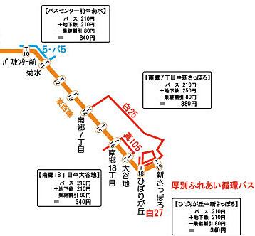 【例3】バスセンター前⇔新さっぽろ間の図